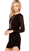 2014 new Chiffon splicing sleeved shirt sleeve slim transparent in the long section of fancy shirt free shipping