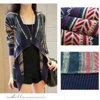 Christmas 2014 Autumn Women's Casual Long Sleeve Sweater Cardigans Korean Desigual Loose Print Pullover AsymmetricalJumper nz193
