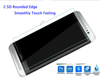Free Shipping Oleophobic Coating 9H Hardness 2.5D Rounded Border Shatter-Proof Tempered Glass Screen Protector for HTC One M8