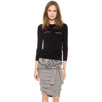 2014 New Autumn Cute Eyelash Embrodiery Full Sleeve O-neck Black Solid Women Sweater X366