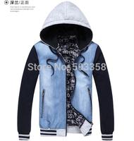 MC004 Autumn 2014 Free Shipping Man Casual Jacket Zipper Hooded Plus Size Man Coat Stripe Slim Men Cowboy Jacket Denim Jacket