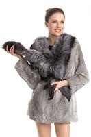 2014 Winter Fashion Ladies'  Natural Rabbit Fur Coat Silver Fox Fur Collar Women Fur Outerwear Coats Long Sleeve QD70725