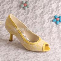 (15 Colors)Custom Logo Fashion Med Heel Yellow Satin and Lace Shoes Wedding Bridal Peep Toe Free Shipping