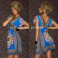 European and American V-neck silk dress sexy milk  Grand Beach Resort dress code women's dress