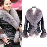 S-XXL 2014 Winter New Women Fake Sheepskin Fur Coat Big Faux Fur Collar OverCoat Outwear Leather Jacket Free Shipping