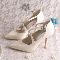 (15 Colors)Custom Logo Cross Strap High Heel Ladies Shoes Wedding Bridal Pointy Toe Free Shipping