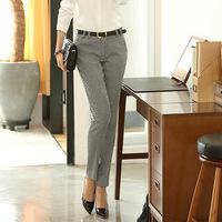 OVO!with belt  2014 elegant OL style Han edition slim pencil pants Swallow gird long pant cotton blended women pants F.KZ.W.066