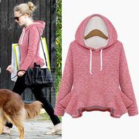 2014 New Arrival Women Winter Hoodies Ladies Hooded Solid Pullovers Flouncing Sweatshirt Women Crop top,SB205