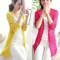 Long Cardigans 2014 Women Fashion Lace Cardigan Plus Size Hollow out Crochet Knitted Sweater Casual Blouses Autumn