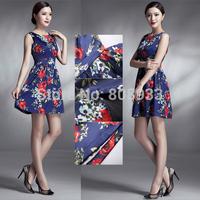2014 Summer Women Short Slim Casual Retro 50s 60s Floral Vintage Print Dress Navy Blue Party Dresses CL6296Y