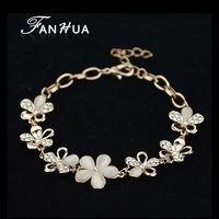 Simulated Gemstone Braceletes 18K Rose Gold Color Flower Pulseras Mujer for Women Wholesale