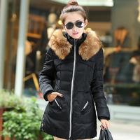 2015 new winter women fashion warm solid zipper casual long paragraph Slim Down Girls cotton padded jacket