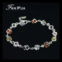 New Wrist Band 18K Silver Plated Bracelet Pulseras Mujer Brazalete For Women With Colorful Crystal Wholesale