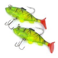 Hot Selling Fishhooks/Lifelike Fish Style Soft PVC Fishing Baits w/ Hooks - Green (Pair) For Free Shipping 122204