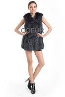 2014  New Women's Real Raccoon Fur Vest  Fashion Ladies'  Winter Fur Collar Fur Gilet  QD70726