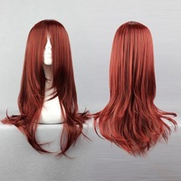 New Kunieda Aoi Fashion Long Dark Red Cosplay Wig COS Kanekalon fibre no Lace Front Wigs Free deliver