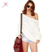 XS-XXL 2015 Brand Sweater White Slash Neck Dew Shoulder Deep V Back Puff Sleeve Women Pullover Sweaters Desigual Cardigans