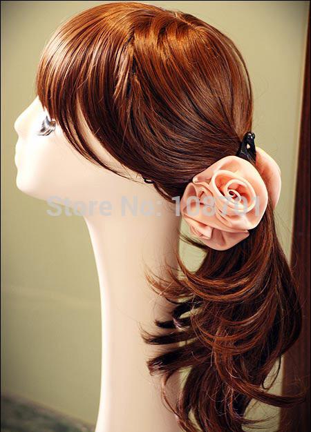 2014 Original Design Korean style Handmade Silk Yarn Rose Flower Hair Pins Banana Hair Clips Party Hair Accesory SK140583(China (Mainland))