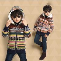 Retail 1PC New 2014 Children Casual Fashion Boy's Cotton Swearter Coat Thick Warm Winter Coat Hooded Parkas Coats & JacketsAB360