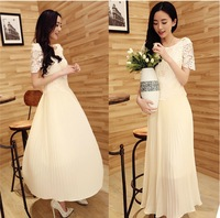 2014 New water-soluble Lace Pearl Formal Dress Slit Neckline Long Evening Dress free shipping