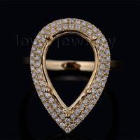 September New Pear 11x16mm 18k Yellow Gold Diamond Semi mount Ring WU0080