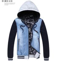 2014 Autumn men jecket fashion Denim hooded Coat man Denim jecket Casual patch work short Man Jacket Slim Jean Outwear MC004