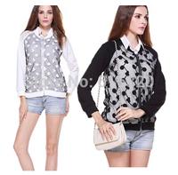 HSHN961 Double Gauze Cotton Coat Autumn 2014 New Fashion Women Jacket Casual Long Sleeve Cardigan Jackets