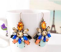 Free Shipping new shourouk luxury european multicolor flower -shaped earrings crystal gem drop statement Earrings For Women