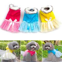 Pet Doggie Hoodie Down Jacket Fur Lace Bow Princess Dress Winter Cotton Coat