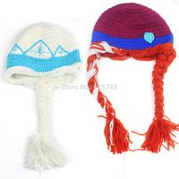 50 pcs 2014 New Handmade Knitting Wool Crochet Frozen Hat Elsa Anna Beanie Twins Frozen Hat Sister Character Hat Wholesale