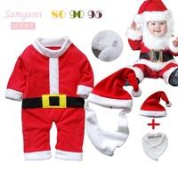 3set/lot Wholesale Red Christmas Baby Boy Clothes Set Romper Bib Cap 3 Pieces Kids Suit Autumn 2014 Infant Clothes Bebe Clothing