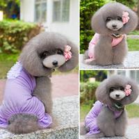 Cute Pet Dog Lace Sling Pajamas Clothes Puppy Full Leg Cotton Shirt Coat Costume