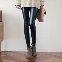 2014 Winter Women Warm Leggings High Stretch Leather Pants Korean Style Ankle Length Skinny Trousers DN-W59