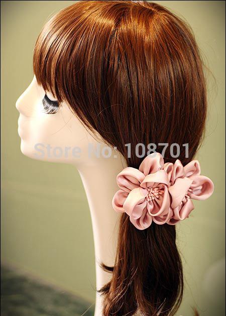 New Original Design Korean style Handmade Big Silk Yarn Flower Hair Pins Personal Flower Hair Clips Party Hair Accesory SK140584(China (Mainland))