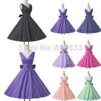 2014 Fashion Sleeveless Deep V Neck Black,Blue,Pink,Purple Retro Swing Polka Dots Vintage Dress 50s Party Wear Plus Size CL6295Y