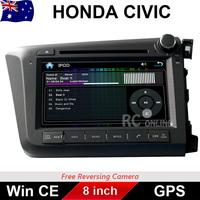 8 inch Car DVD GPS Stereo Player Head Unit For Honda Civic RHD 2012-2014 ARM11 CPU Free Reversing Camera
