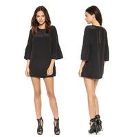2014 Dresses Back Cut Out Loose Brief Autumn Dress 2014 Flare Sleeve Fashion Women Dresses Black