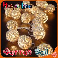 20 Latterns Leds 2.2M Creamy Warm White Rattan Ball Fairy String Christmas Lights for Weddings Natal Garden  Holiday Decoration