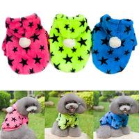 Cute Pet Dogs Soft Warm Pajamas Coat Star Print Fleece Hooded Clothes Jacket