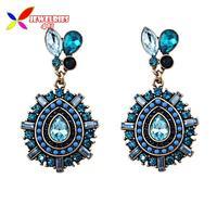 2014 new fashion Elegant Vintage Blue Red Sparkled Rhinestone Beaded waterdrop statement dangle earrings for women brincos
