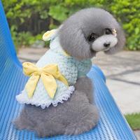 New Small Dog Fleece Coat Winter Bow Lace Rabbit Hoodie Jacket Pet Outwear