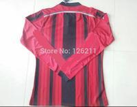 Free Shipping 14 15 AC Milan longsleeve Jersey  Thai Quality 2015 Milan Home red Soccer Jerseys Torres KAKA HONDA football shirt