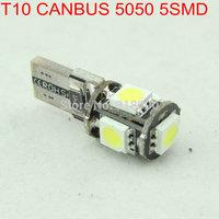 Hot!! 50pcs/Lot T10 W5W 194 Canbus Car LED 5 SMD Light Canbus 5 LED 5050 NO OBC ERROR White 12V Interior Car Light Source