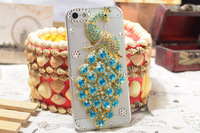 Hot sale clear deluxe 3D bling Glitter Diamond peacock case for IPhone 5 5s free shipping