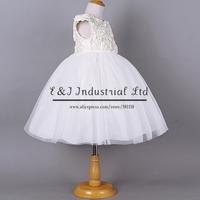 Fashion Girl Rose Dresses White Flower Party Dress Grace Princess Dresses Children Clothes Hot Sale GD40918-4
