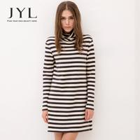 2014 Autumn/Winter JYL Brand Navy Casual Striped long sleeve dress,cotton jersey autumn dress for women,turtleneck woman dresses