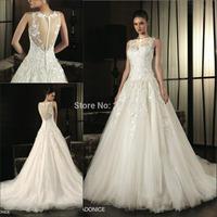 Vestidos De Novia 2014 Romantic Designers High Neck A-line Tulle Wedding Dresses Lace Appliqued Sexy Open Back With Buttons