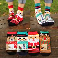 2014 Harajuku High quality Women's cotton socks Fashion Santa Claus Cartoon Cute sock Female Three-dimensional Christmas gift
