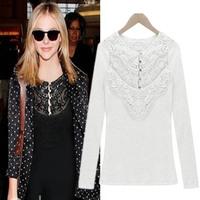 Free&Drop ShippingWomens Lace Crochet Long Sleeve Crew Neck Shirt Blouse Tops Cotton Blends
