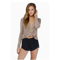 2014 Womens Autumn Slim Short Design Cross V-neck T-shirt Tops Cropped Tops